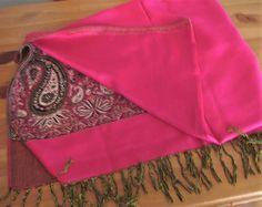New Pashmina Dark Fushia Pink Gold & Black Paisley 72 x 27 Fringed Scarf Wrap #Unbranded #Pashmina