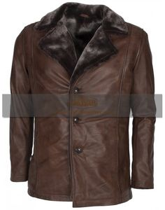 X-Men Wolverine Designer Fur Lined Brown Italian Celebrity leather Coat