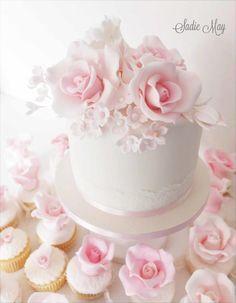 pretty cupcake tower wedding  by Sharon Sadie May Cakes