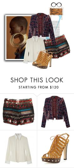 """""""She Likes The Bling"""" by the-house-of-kasin ❤ liked on Polyvore featuring Victoria Beckham, Cynthia Rowley, Miu Miu, Stuart Weitzman, Charlotte Olympia, Sequins, MixandMatch, mixitup, mixedpatterns and hookedonstyle"""