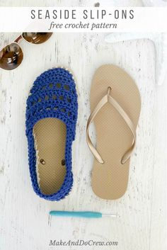 "Crochet Shoes with Rubber Bottoms — Free ""Toms"" Style Pattern! These Seaside crochet shoes with rubber bottoms come together with Lion Brand Cotton yarn and a pair of flip flops. Wear them as street shoes or slippers – either way, they're super comfy! Diy Crochet Projects, Crochet Diy, Love Crochet, Crochet Crafts, Crochet Sandals, Crochet Boots, Crochet Slippers, Crochet Clothes, Felted Slippers"