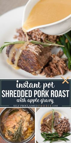 Instead of braising in the oven all day, enjoy healthy Pressure Cooker Pork Roast with Apple Gravy. This is the perfect fall dinner that is ready in little more than an hour. #pork #roast #instantpot #gravy #porkshoulder #porkbutt #apple #recipe #dinner #fall