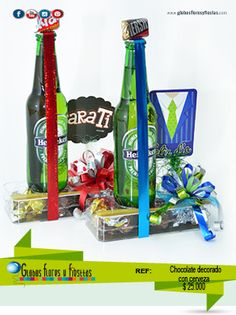1 cerveza hainiken, chocolate petit hersey, cajita 3 chocolates, cinta, moño y tarjeta Gifts For Father, Fathers Day, Alcohol Basket, Magic Party, Candy Bouquet, Simple Gifts, Homemade Gifts, Boyfriend Gifts, Diy And Crafts