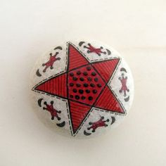 handpainted stones / red star red fish by zeustones on Etsy