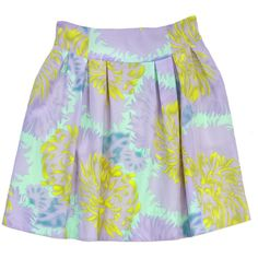 Pre-owned Nanette Lepore Lilac Mint & Yellow Print Flare Skirt ($115) ❤ liked on Polyvore featuring skirts, print skirt, yellow knee length skirt, patterned skater skirt, print skater skirt and circle skirt