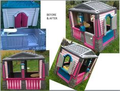 Little Girl's dream playhouse makeover! I refinished this house for an adorable 18 month old. She walked Little Girl's dream playhouse makeover! I refinished this house for an adorable 18 month old. She walked right in as if she owned the place! Little Tikes House, Little Tikes Playhouse, Little Tykes, Backyard Playhouse, Plastic Playhouse, Outdoor Play Spaces, Outdoor Fun, Little Tikes Makeover, Kids Picnic Table