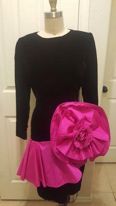 Vintage Victor Costa saks fifth avenue black velvet dress Buttons Puffy Sleeves Old School Fashion, Black Velvet Dress, Button Dress, Saks Fifth Avenue, Party Dress, Mini Skirts, Formal Dresses, Sleeves, Vintage