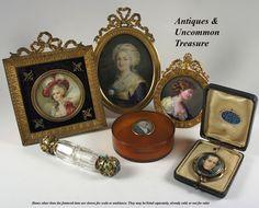 """Antiguo horno-dispararon esmalte Retrato en miniatura, """"travieso"""", y en el marco francés fino, c.1820-40"""