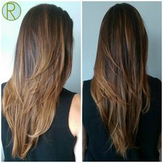 Sunkissed caramel highlights and strong layers by @maria.ferrer.riggert…