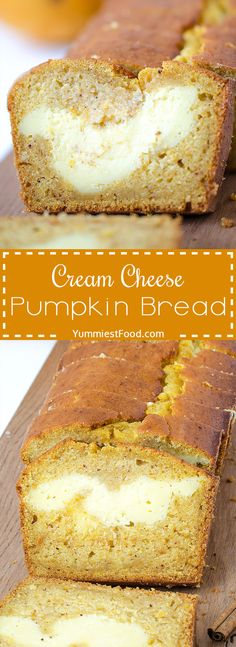 Cream Cheese Pumpkin Bread - love at first bite! Perfect healthy way to start your day! Cream Cheese Pumpkin Bread ideal combination of cheese, cinnamon and only few ingredients! Cheese Pumpkin, Pumpkin Cream Cheeses, Pumpkin Bread, Pumpkin Cream Cheese Muffins, Delicious Desserts, Yummy Food, Cupcakes, Pumpkin Cheesecake, Sweet Bread