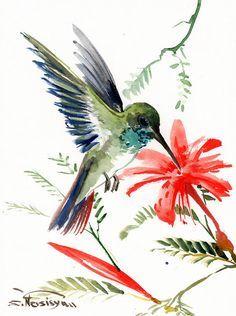 Hummingbird, original watercolor painting, 12 X 9 in, birds and flwoers, tropical bird art, hummingbird lover
