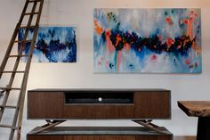 Organic and modern console with a colorful splash from our Swedish featured painter Cassie and her beautiful, abstract eye candy. http://www.bdantiques.com/