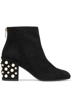 Stuart Weitzman - Pearlbacari Embellished Suede Ankle Boots - Black