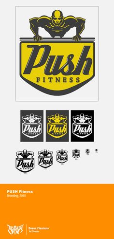 PUSH Fitness Logo by Beaux Flamiano, via Behance