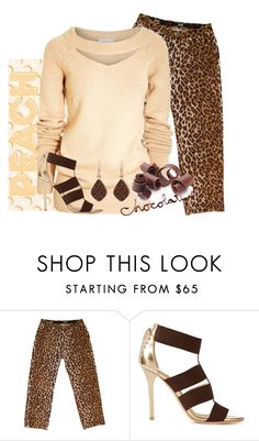 """Peach & Chocolate"" by easy-dressing ❤ liked on Polyvore featuring D&G, Jimmy Choo and H.Azeem"