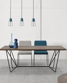 Rectangular steel and wood #table GEMMA by Altinox Minimal Design @altinox