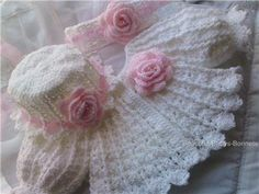 crochet rose coat ,hat and hairband