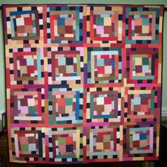 "Colorplay I quilt by Judith Lockhart | Quilting by Judith: ""The quilt was inspired by Nancy Crow and I just began cutting and piecing with no rulers and very improvisationally, using some Cherrywood hand-dyed fabrics from a scrapbag I bought at the Houston Quilt Festival."""