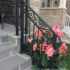 Exterior Railings – Dufferin Iron & Railings Wrought Iron Porch Railings, Exterior Stair Railing, Front Porch Railings, Front Porch Steps, Wrought Iron Stair Railing, Balcony Railing Design, Wrought Iron Decor, Staircase Railings, Porch Stairs