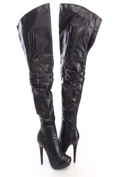 $19.24 | The features for these thigh high boots include a faux leather upper with pocket accent, straps with buckle accents, almond shaped closed toe, stitched detailing, inner side zipper closure, smooth lining, and cushioned footbed. Approximately 5 1/2 inch heels, 1 1/2 inch platforms, 15 1/2 inch circumference, and 25 inch shaft.