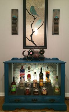 Upcycled & Repurposed vintage television set made into a bar