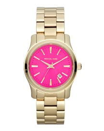 Y1M3Q Michael Kors Mid-Size Golden Stainless Steel Pink-Face Three-Hand Watch