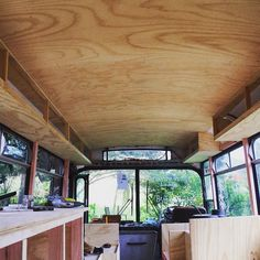 Overhead cabinets...just need doors but that will come later . . . .  #housebus #diy #tinyhome #cabinonwheels #thow #buslife #busconversion #schoolbusconversion #skoolieconversion #skoolie #tinyhouse #minimalism #newzealand #gopro by bus_life_nz