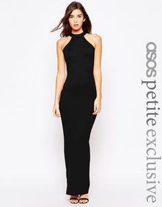 Image 1 - ASOS PETITE - Maxi robe style 90's à encolure montante et dos échancré