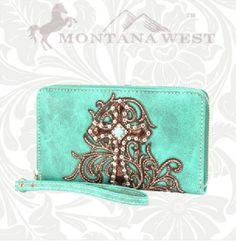 Turquoise Cross Western Wallet