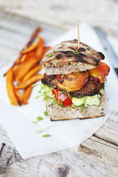 Portobello & Peach Burger ~like the idea of grilled fruit on a burger, maybe with curry lentil burger?