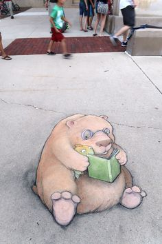 Le street art mignon à la craie de David Zinn | Design Spartan : Art digital, digital painting, webdesign, ressources, tutoriels, inspiration