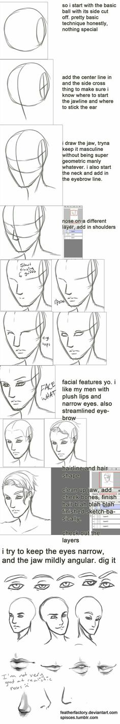 Anime Drawing Tutorial not really a tutorial, but y'know just sharing what i've learned so far about making pretty men faces i sketch and do lines in FireAlpaca because it has that cool correction function that smooths l. Drawing Lessons, Drawing Techniques, Drawing Tips, Drawing Reference, Drawing Sketches, Art Drawings, Drawing Faces, Sketching, Pencil Drawings