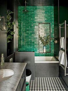 Highbury Home by Romilly Turner Interior Design - Green - Bathroom Decor Modern Bathroom, Small Bathroom, Bathroom Green, Brick Tiles Bathroom, Cement Tiles, Colourful Bathroom Tiles, Bathroom No Window, Morrocan Bathroom, Brick Tile Wall