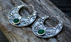 Earrings   SpiralStone Designs. Green onyx and sterling silver