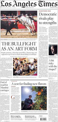 #20160411 #USA #CALIFORNIA #CaliforniaTodayNEWSpapers20160411 http://en.kiosko.net/us/2016-04-11/geo/California.html + #LosAngeles #LosAngelesTimes20160411 http://en.kiosko.net/us/2016-04-11/np/latimes.html