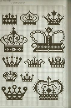 Different crowns cross stitch patterns.