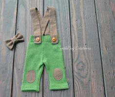Newborn Photography Pants  Upcycled Rustic Green Pants with Brown Suspenders and Bow Tie by ToodleBugCreations, $26.50