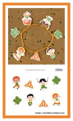 This St. Patrick's Day, give the luck of the Irish with cute, It's a Small World-themed shrink charm jewelry complete with clovers and celtic knots! Saint Patrick, St Pattys, St Patricks Day, Christmas Themes, Christmas Ornaments, Holiday Decor, Family Collage, Shrinky Dinks, Luck Of The Irish