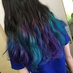 WEBSTA @ kojikojiz_hina - #カラー #外国人風カラー #グラデーションヘアカラー #夏休み#パープル#ターコイズカラー#マニパニ