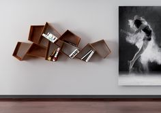 "Suspended corten library ""SU"" by Rondadesign @ Pavart Bookshelf Design, Bookshelves, Furniture Decor, Furniture Design, Cool Diy Projects, Craft Projects, Magazine Design, Decoration, Home Interior Design"