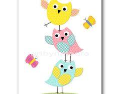 Baby Girl Nursery Decor Pink Aqua Wall Art Modern Nursery Owl