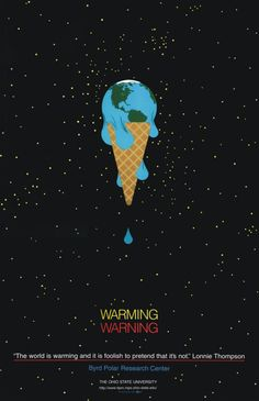 -Métaphore -Hyperbole -Trompe l'oeil I thought using the image of an ice cream melting was an effective metaphor for how global warming is melting our world on this poster. However, it's funny because the poster kind of uses a c… Global Warming Poster, Global Warming Drawing, What Is Climate, Environmental Posters, Environmental Protection Poster, Art Environnemental, Save Environment, Magazin Design, Posca Art