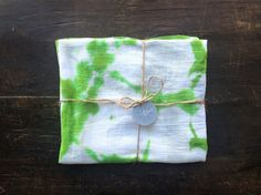 tie dyed, kitchen towels, flour sack towels, green apple, shibori dyed by WyomingCreativeEast