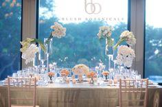 Blush Botanicals www.blushbotanicals.com blush centerpiece, peach centerpiece, white wedding, san diego wedding photo by sara france