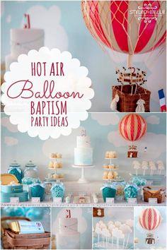 boys hot air balloon themed christening