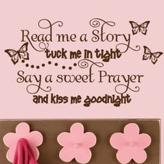 Read Me a Story Tuck me in Tight wall words quote with butterflies