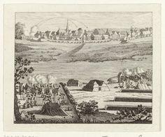 Anonymous   Aanval op Hattem, 1786, Anonymous, 1786   Beschieting van de stad Hattem door de stadhouderlijke troepen, 5 september 1786.