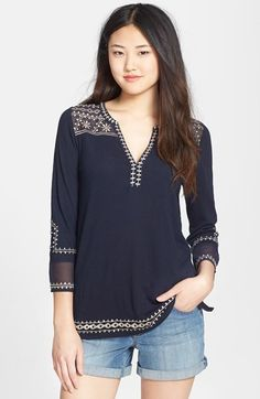 Lucky Brand 'Kiana' Embroidered Tunic Top available at #Nordstrom