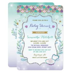 931 best ocean baby shower invitations images on pinterest in 2018 mermaid baby shower invitation purple gold ocean filmwisefo