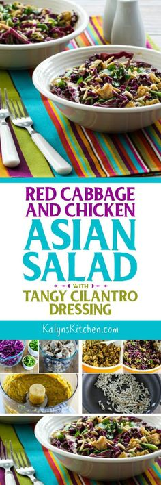 I promise you, this Red Cabbage and Chicken Asian Salad with Tangy Cilantro Dressing will disappear quickly! And this tasty salad with peanut butter is low-carb, low-glycemic, gluten-free, and South Beach Diet friendly.   [found on KalynsKitchen.com]